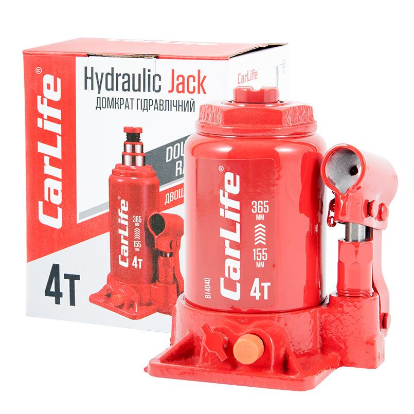 Домкрат бутылочный 4 т 155-365 мм гидравлический двухштоковый CARLIFE (BJ404D)