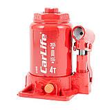 Домкрат бутылочный 4 т 155-365 мм гидравлический двухштоковый CARLIFE (BJ404D), фото 2