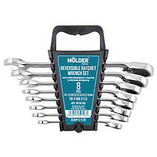 Набор ключей 8 шт комбинированных MOLDER CR-V (8-10-12-13-14-15-17-19 мм) с трещоткой и реверсом (MT59108)