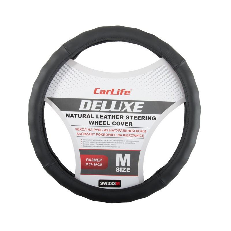 Чехол на руль CARLIFE Delux M (37-39 см) кожа черный (SW333M)