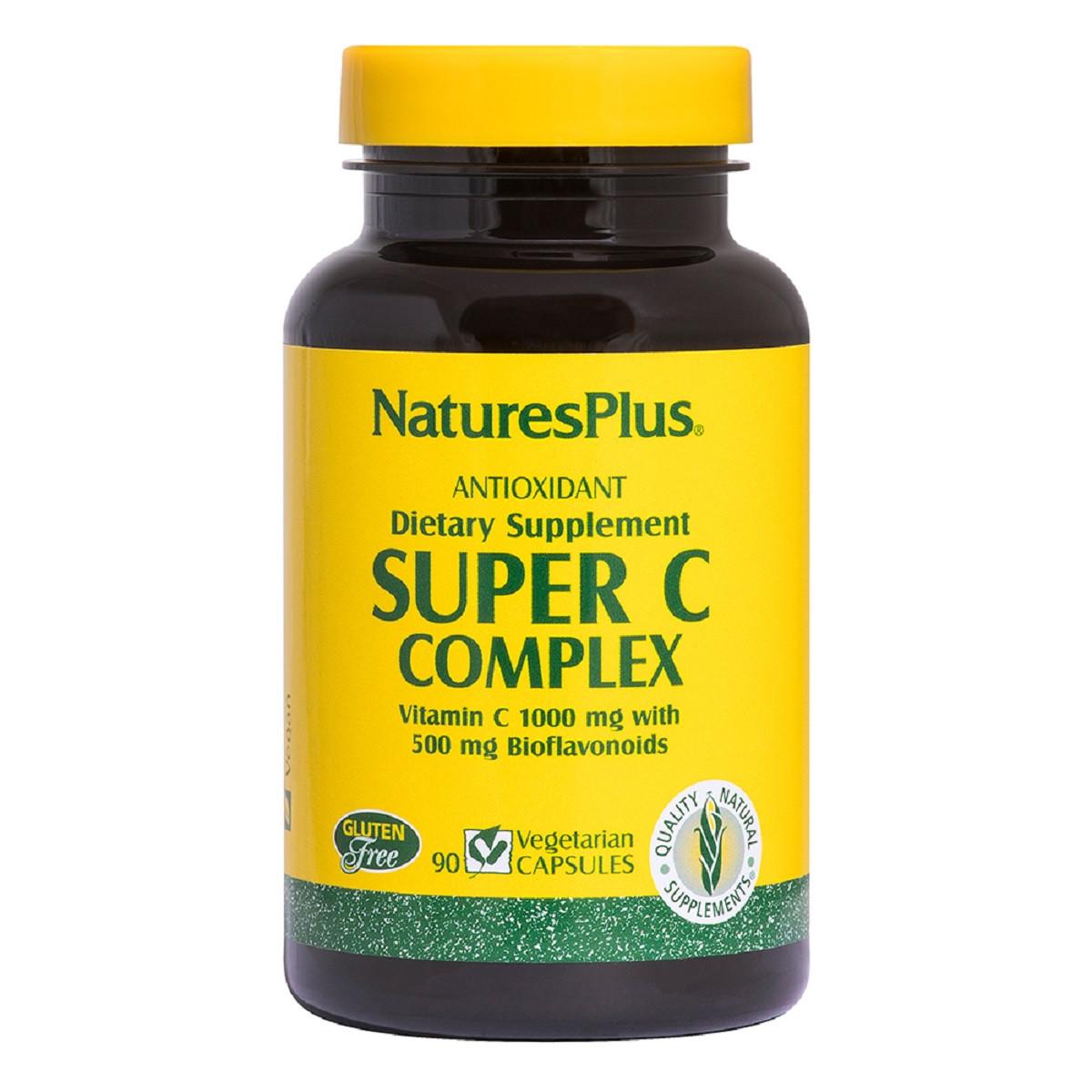 Супер Комплекс Витамина С 1000 мг, Биофлавоноиды 500 мг, Super C Complex, Nature's Plus, 90 капсул