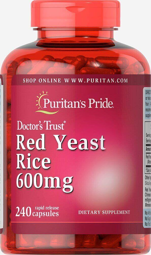 Puritan's Pride Red Yeast Rice 600mg, Красный дрожжевой рис (240 капс.)