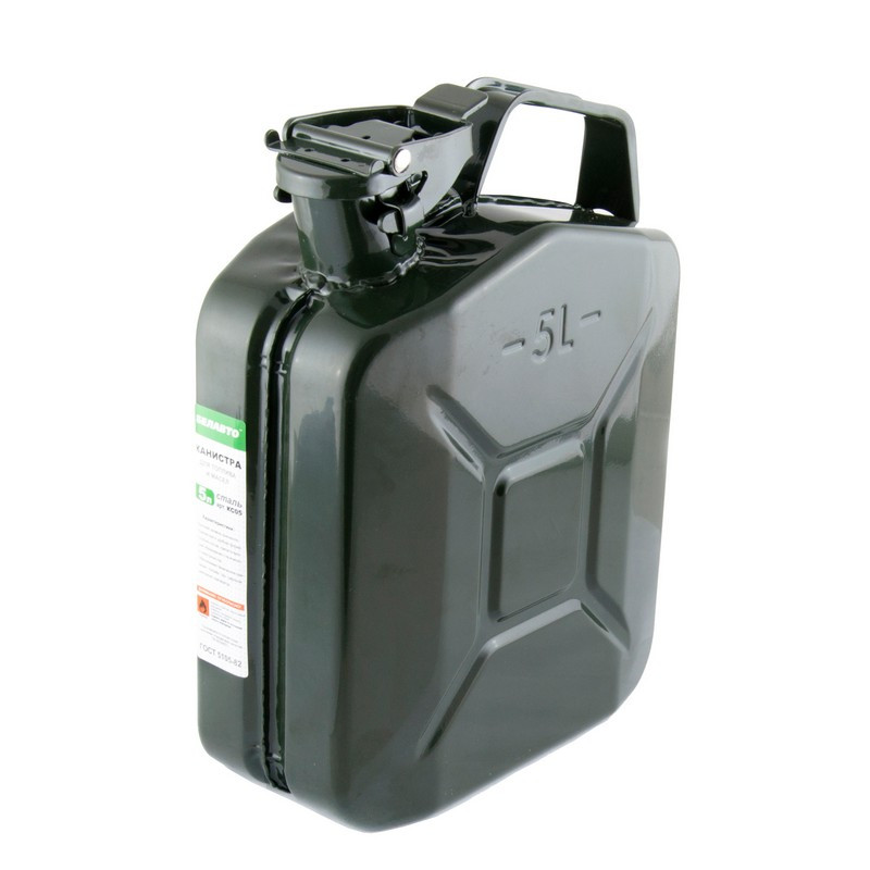 Канистра для бензина и другого топлива 5 л BELAUTO из стали с усиленным дном (KS05)