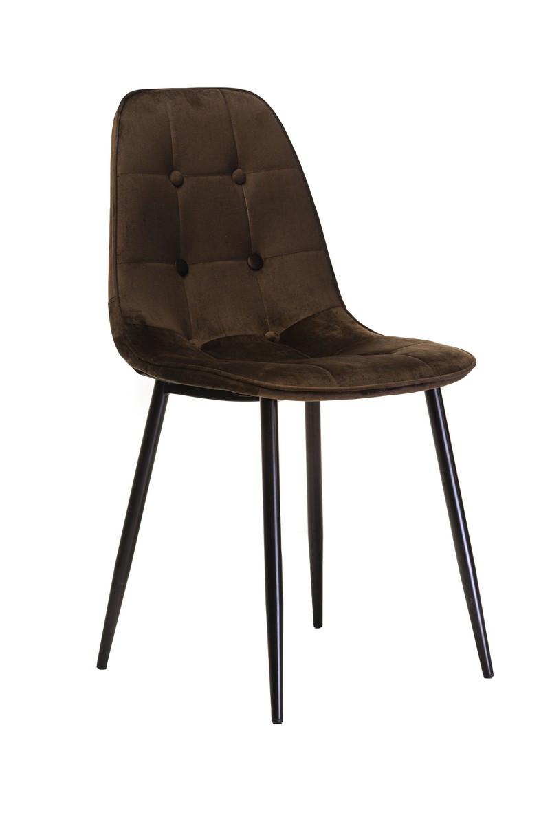 Обеденный стул M-01-3 коричневый вельвет от Vetro Mebel с пуговицами