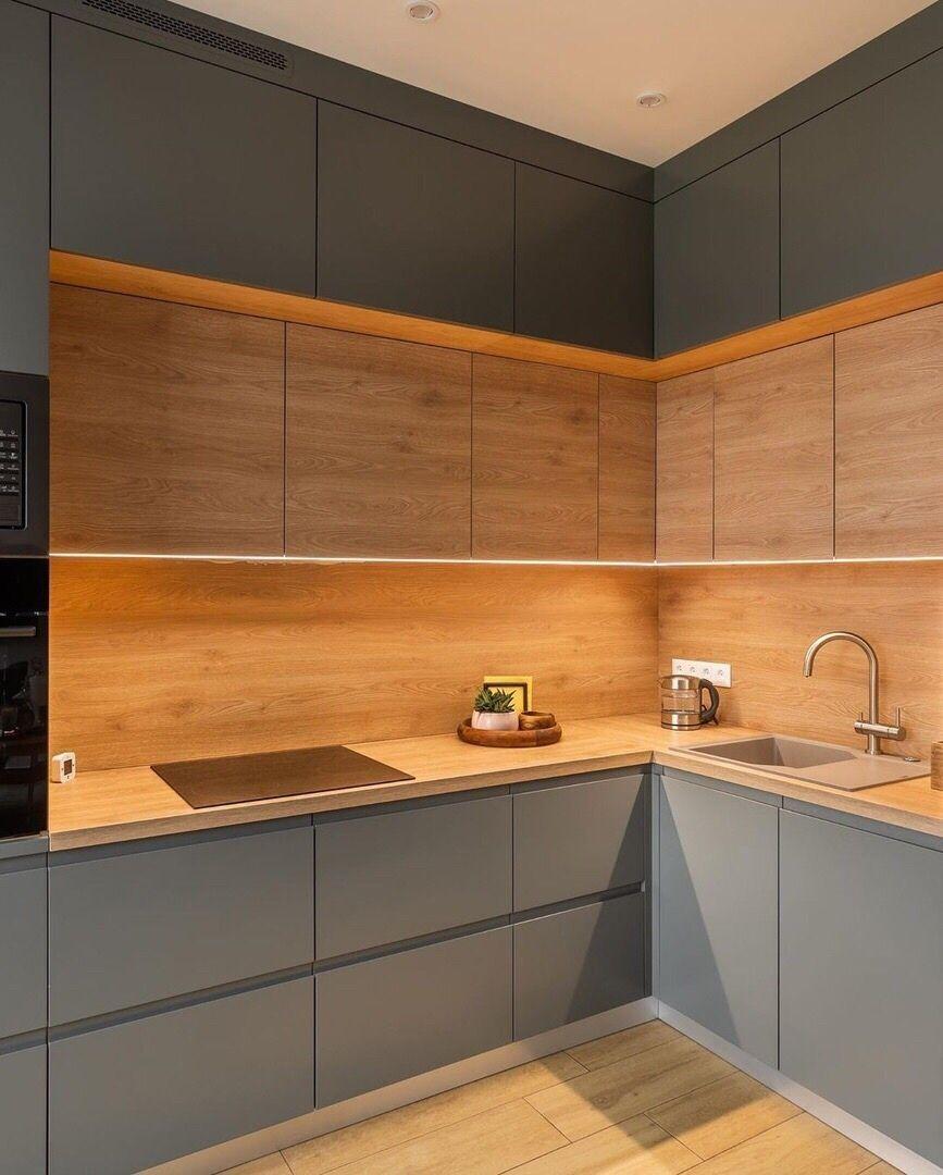 Кухня фарбований МДФ Gray з пазом