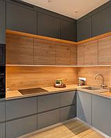 Кухня фарбований МДФ Gray з пазом, фото 1