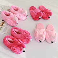 Плюшевые тапочки игрушки Фламинго