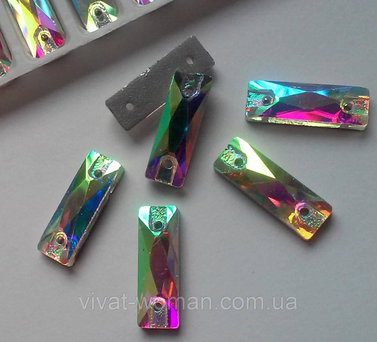 Стразы пришивные Прямоугольник 5 х 15 мм Crystal AB, стекло