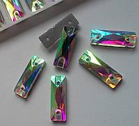Стразы пришивные Прямоугольник 5 х 15 мм Crystal AB, стекло, фото 1