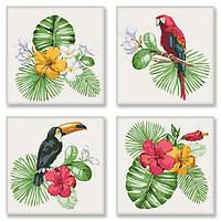 """Картина по номерам, набор для росписи с номерами, полиптих """"Тропическое разнообразие"""" KNP007"""