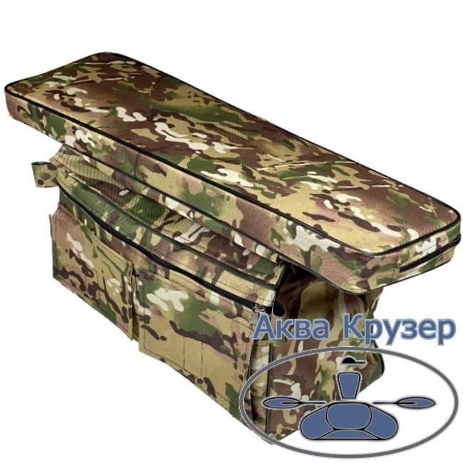 Мягкая накладка на сиденье 840х200х50 мм с сумкой рундуком для надувных лодок ПВХ, цвет камуфляж