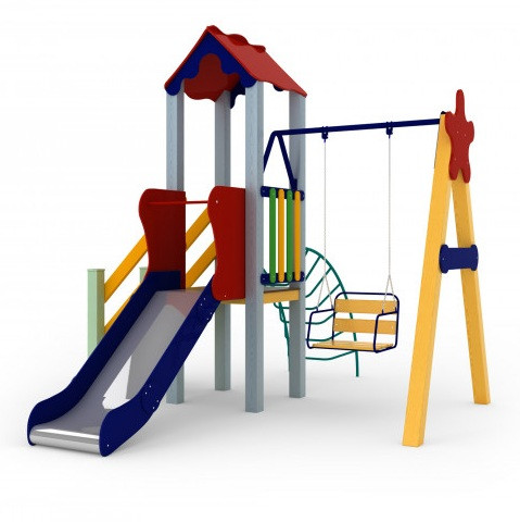 Детские уличные игры Бабочка, высота горки 0,9 м