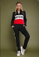 Женский модный спортивный костюм черно красный , размер S/L/XL