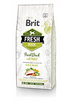 Сухой корм для взрослых активных собак всех пород 2,5 кг / Brit Fresh Duck with Millet Adult Run & Work / утка