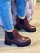 Ботинки Челси CHELSEA 2021 Весна Осень Бордовые, фото 2