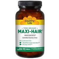 Country Life, Maxi-Hair Витаминный комплекс для роста волос и ногтей, 90 Tablets