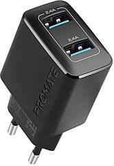 Мережевий зарядний пристрій Promate BiPlug 12Вт 2 USB Black
