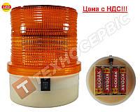 Проблесковый маячок,оранжевый автономный (мигалка) 24 LED крепление на магните, на 4 батарейках, (Цена с НДС), фото 1