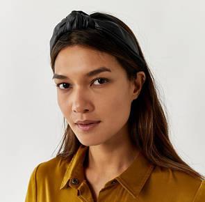 Модний обруч-чалма для волосся обідок з вузлом шкіряний тюрбан