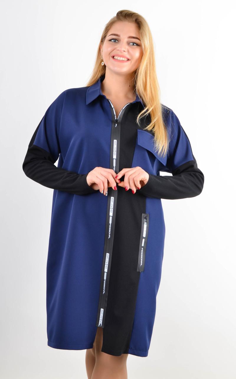 Сабіна. Жіноча сорочка на блискавці великих розмірів,три забарвлення