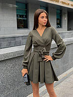 Сукня міні красиве жіноче з об'ємними рукавами і розкльошеною спідницею з поясом Sman5269