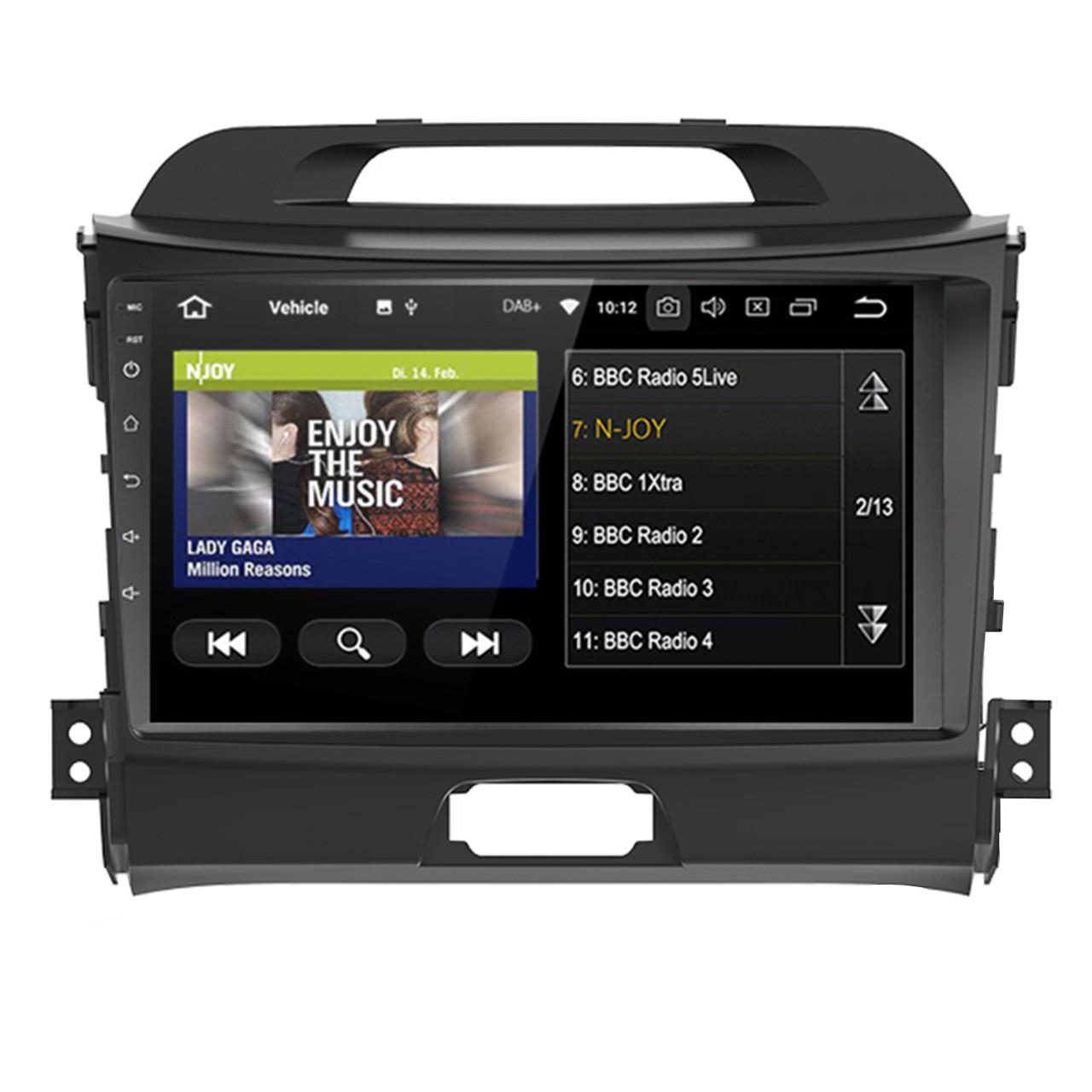 Штатная автомобильная магнитола 9 Kia Sportage GPS мощность 4х50 Вт память 1+16 ГБ Wi Fi (3999-11392)