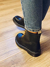 Осенние ботинки в стиле Dr. Martens Доктор Мартинс женские черные, фото 3