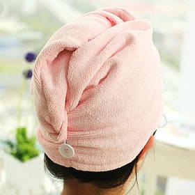 Рушник - тюрбан для сушки волосся з мікрофібри, шапка після душу, Рожевий