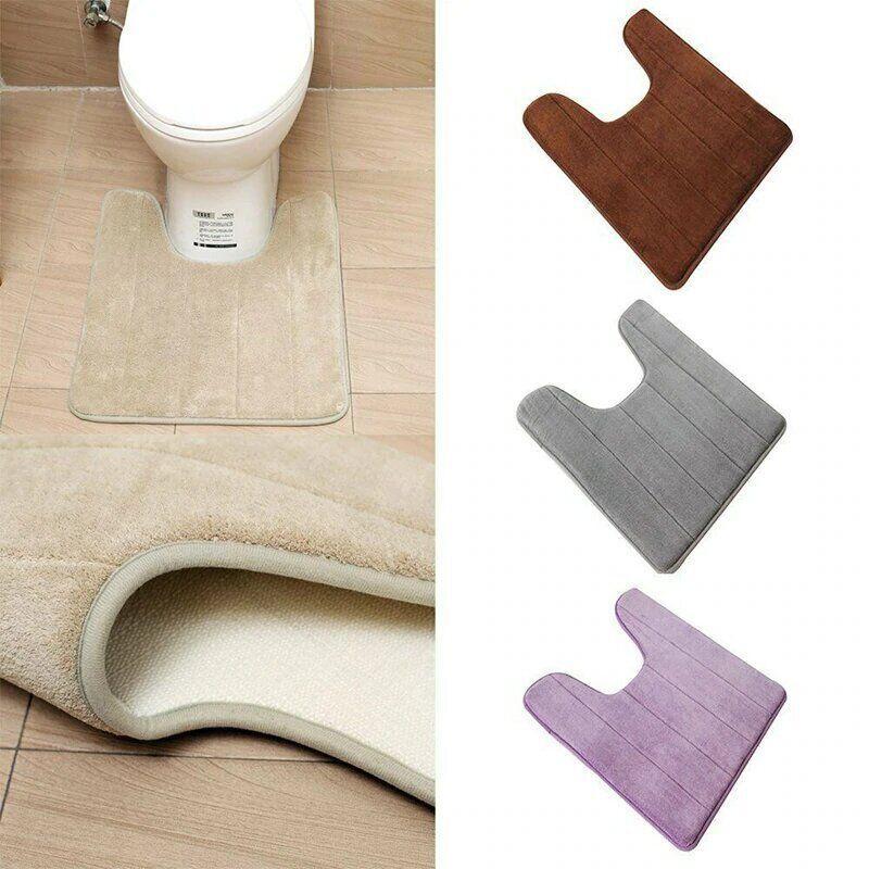 М'який килимок для туалету з вирізом під унітаз з прогумованою основою коричневий