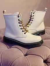 Весняні черевики в стилі Dr. Martens Доктор Мартінс молочні, фото 2