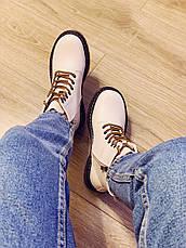 Весняні черевики в стилі Dr. Martens Доктор Мартінс молочні, фото 3