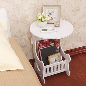Прикроватный круглый столик с ящиком для мелочей, компактный легкий журнальный столик
