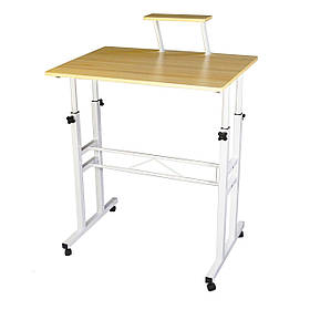 Маленький передвижной компьютерный столик для ноутбука на колесиках с регулируемой высотой