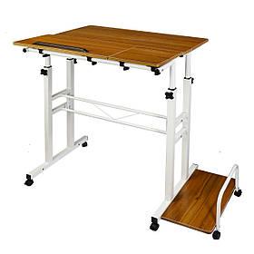 Компьютерный стол трансформер с регулируемой высотой и подставкой для блока на колесиках