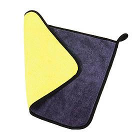 Рушник з мікрофібри для миття і сушіння автомобіля, для скла і корпусу, жовтий з сірим