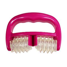 Силіконовий антицелюлітний масажер роликовий ручний, рожевий