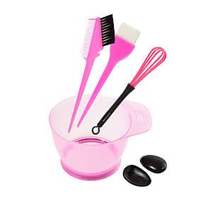 Набір інструментів для фарбування волосся - миска, кисті з гребінцем, вінчик