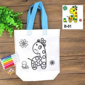 Детская эко сумка раскраска с маркерами для разрисовки, жираф