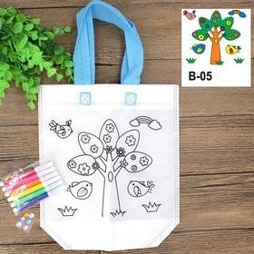 Детская эко сумка раскраска с маркерами для разрисовки, дерево