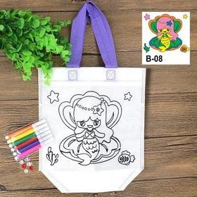 Детская эко сумка раскраска с маркерами для разрисовки, русалка