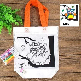 Детская эко сумка раскраска с маркерами для разрисовки, сова