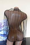 Прозрачный гольф кофточка сетка водолазка в полоску черная блузка, фото 8