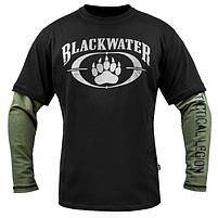 """Футболка с рукавами """"BLACK WATER"""" Black & Olive, фото 2"""