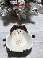 Новогоднее сервировочное блюдо Озорные Снеговики 21,5 см, 2 вида