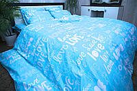 Комплект постельного белья Полуторный(150х205) Love на голубом Бязь от Brettani