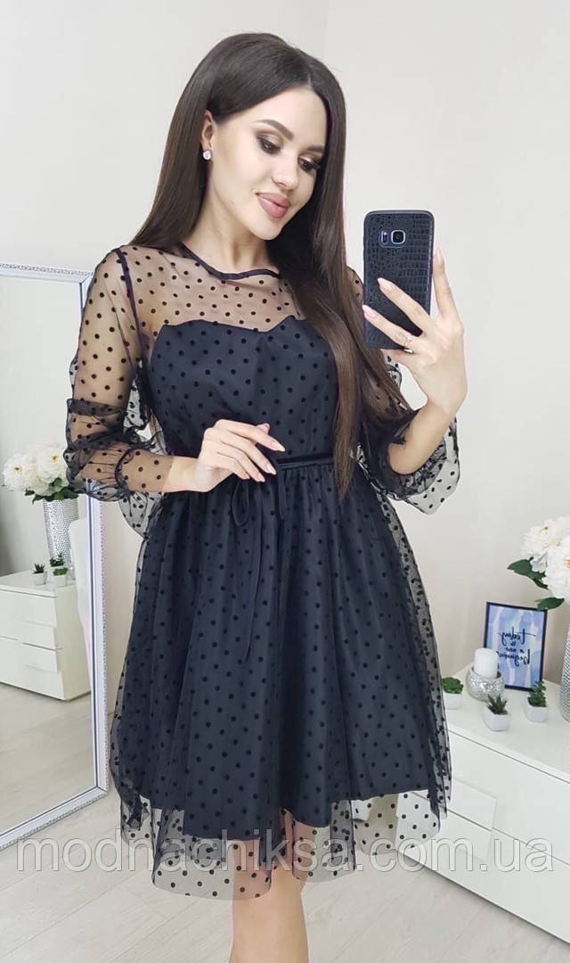 Нарядное коктейльное платье сетка