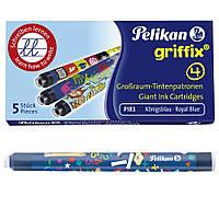 Чорнильні картриджі довгі 5шт Pelikan 4001 Griffix Royal Blue сині що стираються, фото 1
