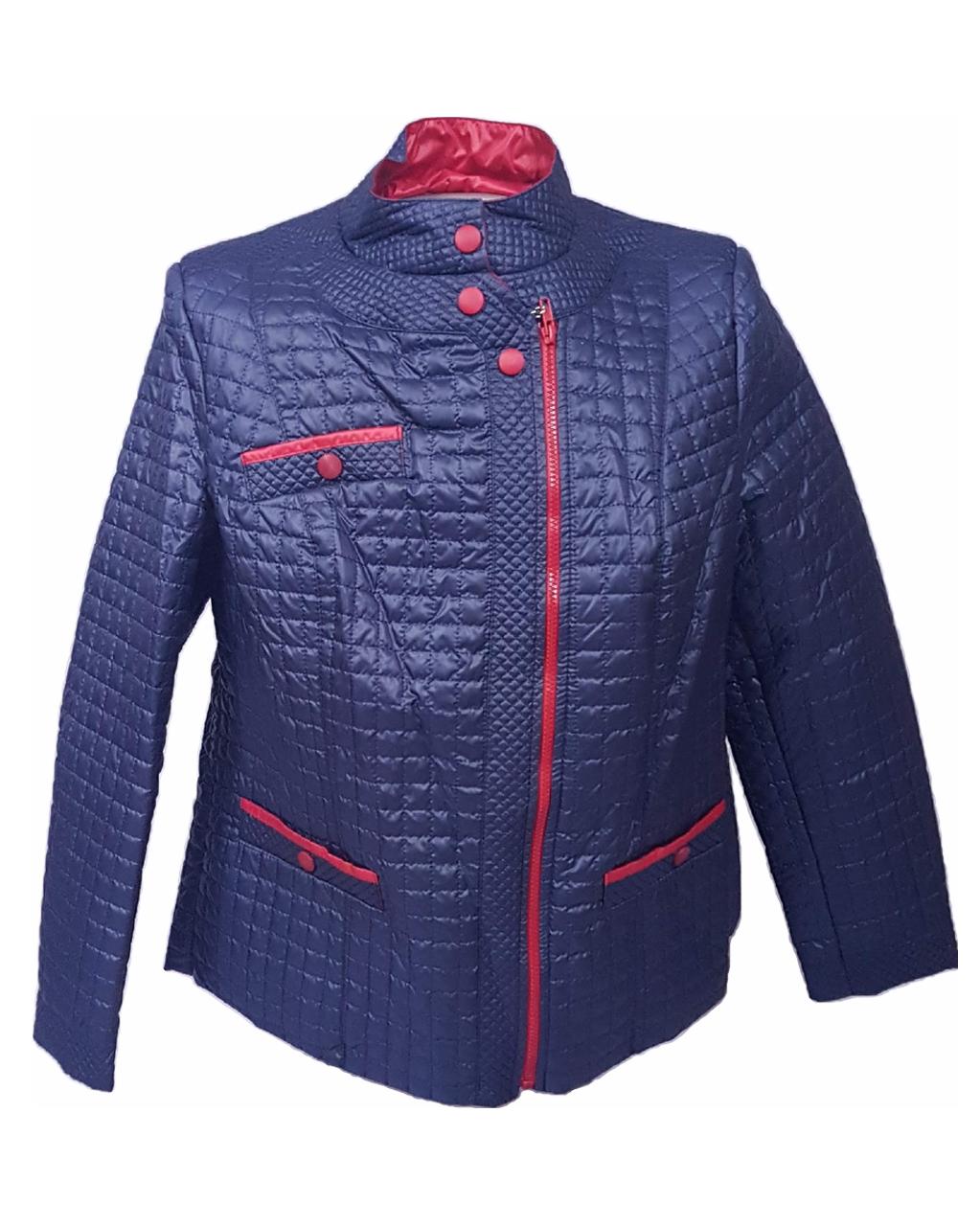 Женская демисезонная куртка больших размеров, синяя, размеры 50-60
