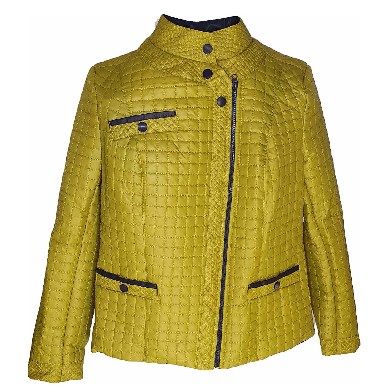 Куртка женская весна-осень оливковая, Батал, размер 50-60