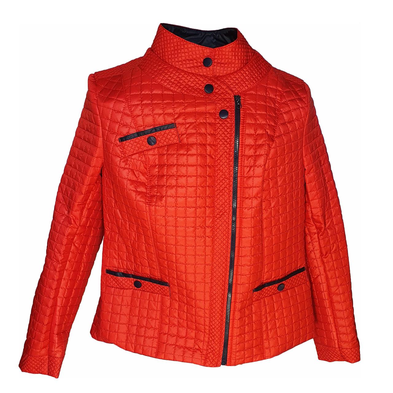 Красная стеганая куртка весна-осень. Размеры 50-60